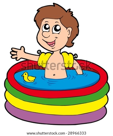 Boy in inflatable pool - vector illustration. - stock vector