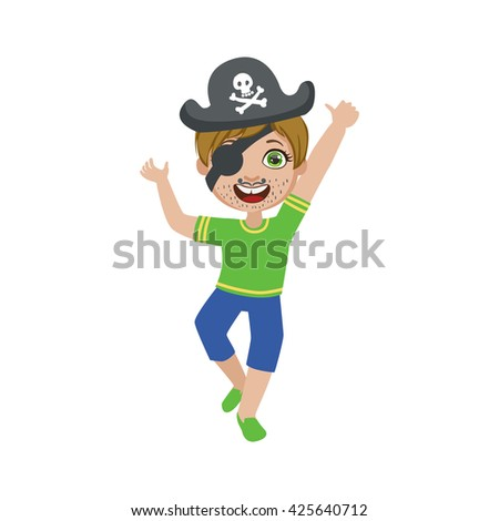 Boy In Pirate Make Up Bright Color Cartoon Childish Style Flat Vector Drawing Isolated On White Background - stock vector
