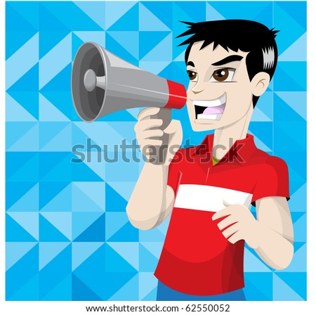 boy in red shirt - stock vector