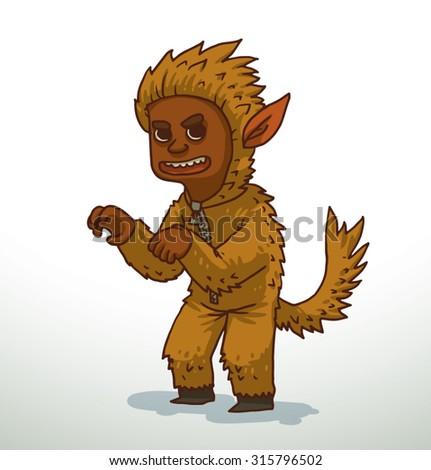 Boy in Werewolf costume for Halloween, vector - stock vector