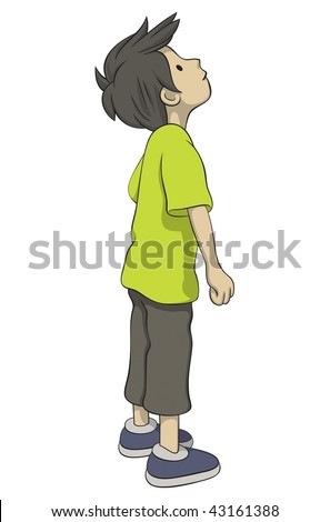 Boy is looking up - stock vector