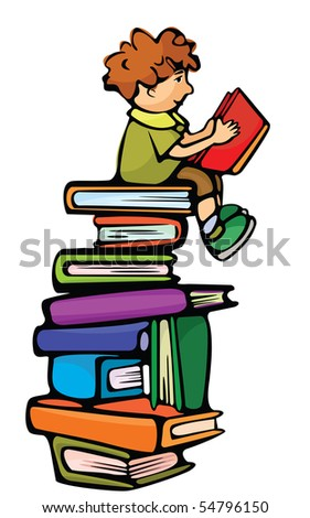 Boy is  sitting on the books and reading red book. - stock vector