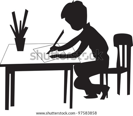 boy is sitting on the chair at the table draws on a sheet of paper - stock vector