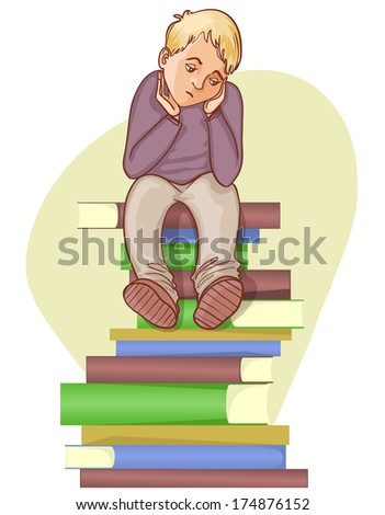 Boy is under stress with lot of books to read, eps10 - stock vector