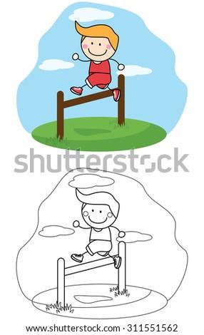 Boy jumping sport - stock vector