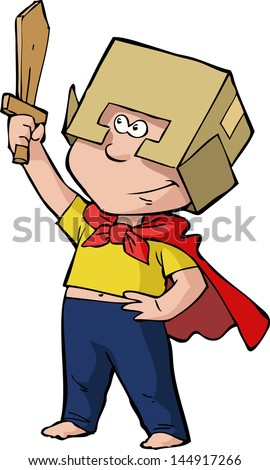Boy knight with a sword and wearing a helmet vector illustration - stock vector