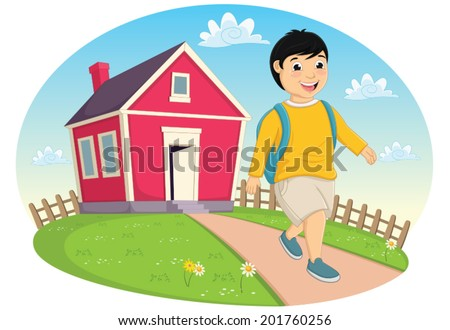 Boy Leaving Home Vector Illustration - stock vector