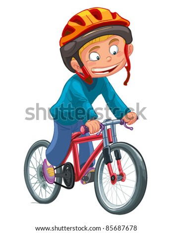 boy on a bicycle vector on a white background - stock vector