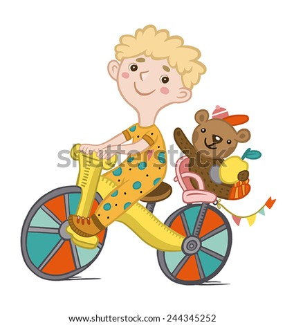 boy on a bicycle with a teddy bear. character in a children's style - stock vector
