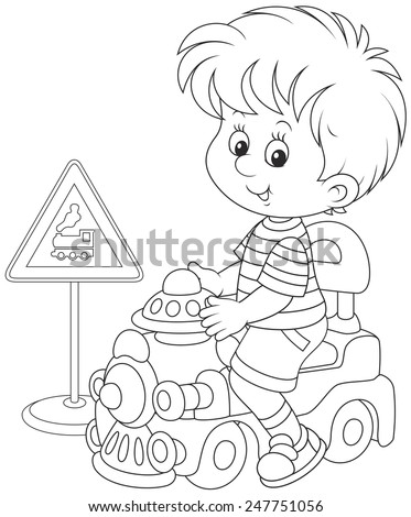 Boy on a toy train - stock vector