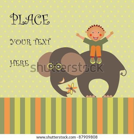 boy on elephant - stock vector