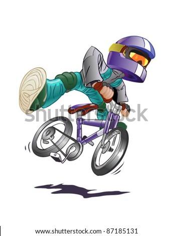 boy on mountain bike  vector - stock vector