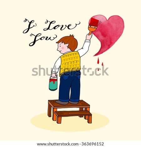 Boy painting on the wall, Hand drawn vector illustration - stock vector