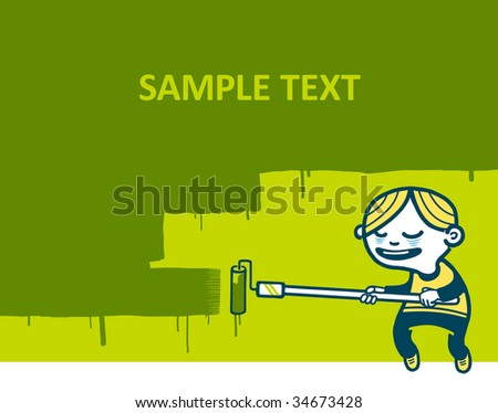 Boy painting the wall. Vector illustration. - stock vector