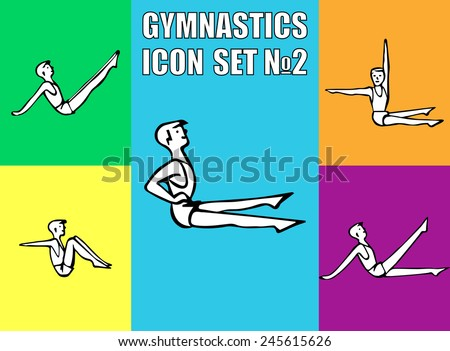 Boy performs sitting exercises of fitness. Vector illustration icon EPS10 - stock vector