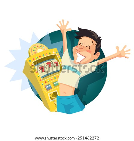 Boy play in casino.Vintage style illustration. Eps10 vector illustration. Isolated on white background