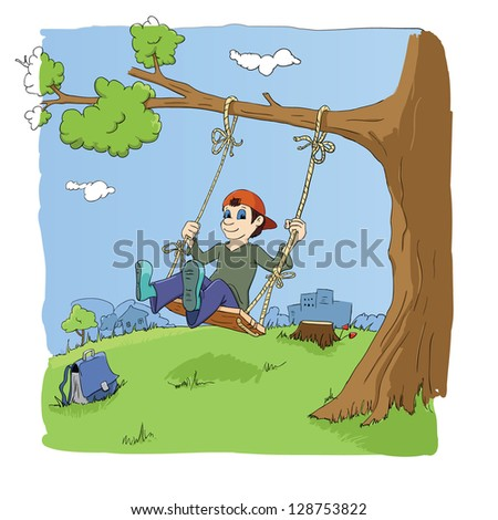 boy play with swing after school