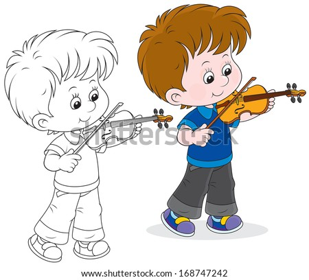 Boy playing a violin - stock vector