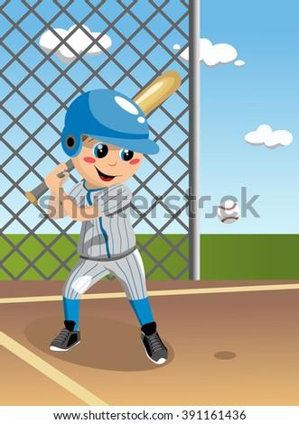 Boy playing baseball in field - stock vector