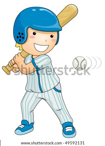 Boy Playing Baseball - Vector - stock vector