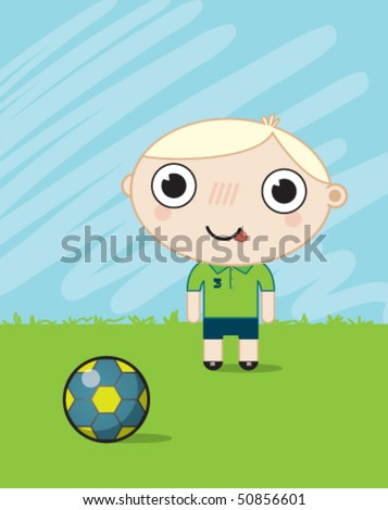 boy playing football - stock vector