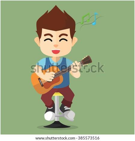 Boy playing guitar - stock vector