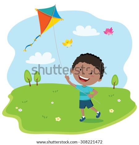 Boy playing kite. Vector illustration of a cheerful boy enjoying flying kite. - stock vector