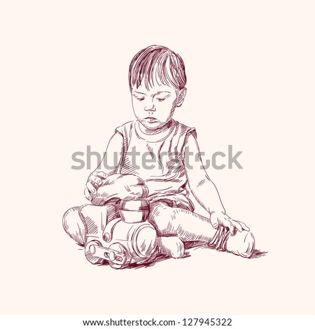 boy playing on the floor with a train hand drawn vector illustration - stock vector