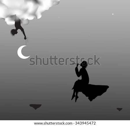 boy playing on trumpet for fairy that hold the moon in cloud, night dream fairytale, shadow life on heavens, preparation for fairy Christmas sky, - stock vector