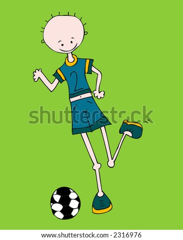 boy playing soccer - stock vector