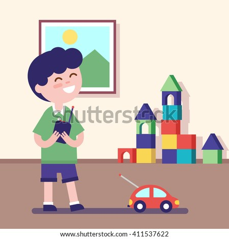 Boy playing with rc car with remote control in hands. Modern flat vector illustration clipart. - stock vector