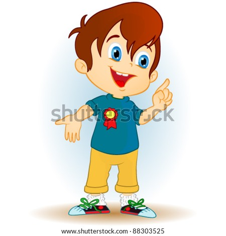 boy pointing.young - stock vector