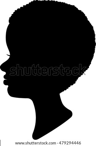 African American Profile Silhouettes Women Vector Stock