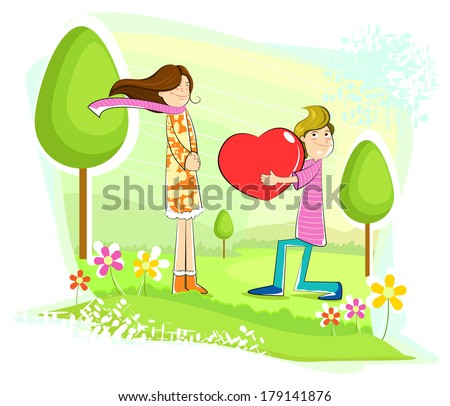 Boy proposing girl with heart in park - stock vector