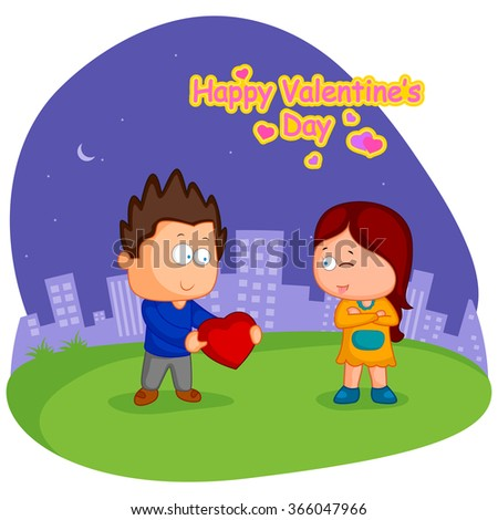 Boy proposing to girl with heart for Valentine's day in vector - stock vector