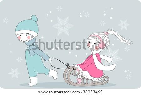 boy pulls girl on sleigh - stock vector