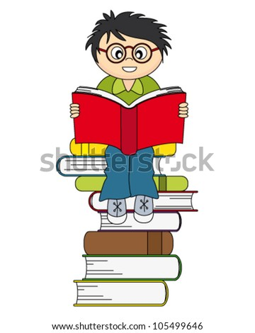 boy reading a book. Drawing isolated white background - stock vector