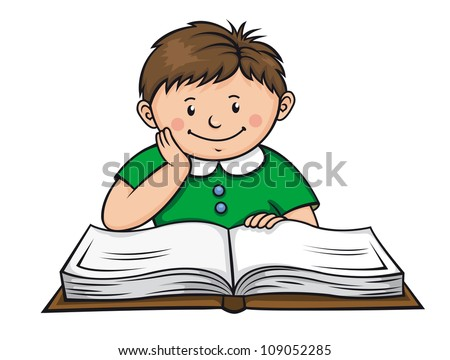 Boy reading a book in library. Vector illustration
