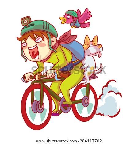 boy ride bike with friend - stock vector