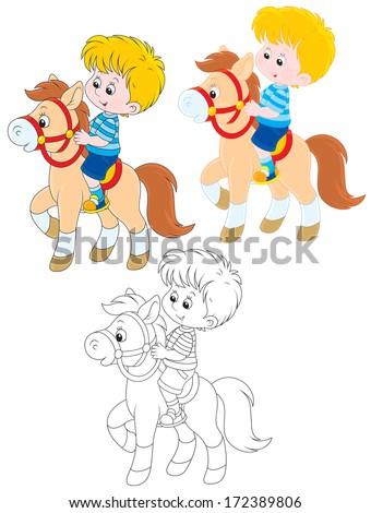 boy riding a pony - stock vector
