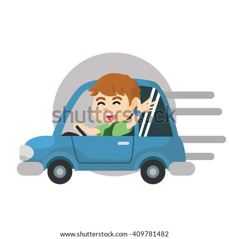 Boy riding car