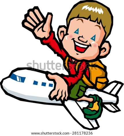 Boy riding on an airplane - stock vector