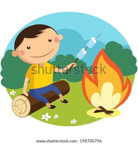 boy roasts marshmallows on a stick over a campfire - stock vector