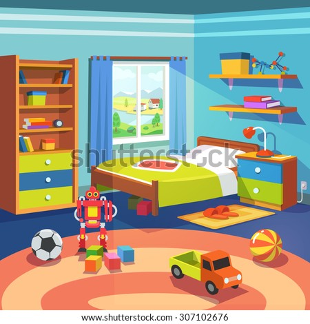 Boy room with big window suffused with light. With bed, cupboard, shelves, and toys on the floor. Flat style cartoon vector illustration. - stock vector