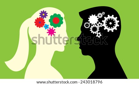 Boy's and girl's mind concept  - stock vector