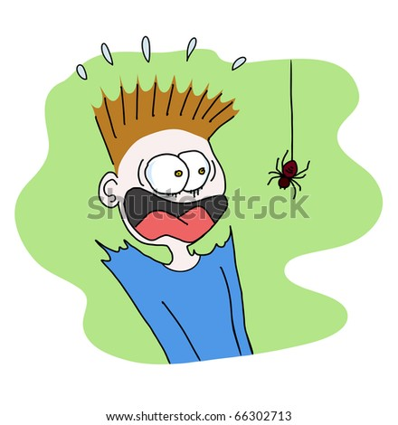 boy scared of spider - stock vector