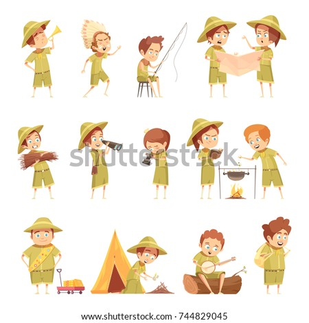 Boy Scout Fishing Campfire Cooking Playing Stock Vector 744829045