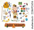 boy scout with camping equipment and object  - vector illustration - stock photo