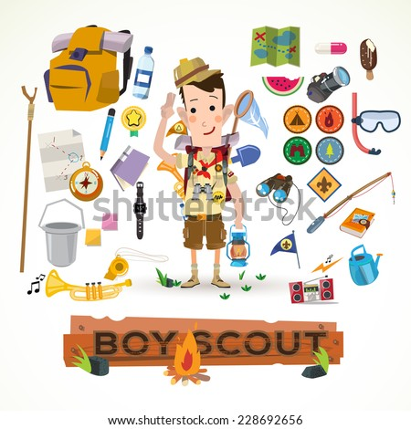 boy scout with camping equipment and object  - vector illustration - stock vector