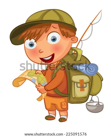 Boy Scouts. Funny cartoon character. Vector illustration. Isolated on white background - stock vector